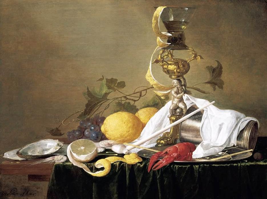 Ян Давидс де Хем. Натюрморт с дарами моря и фруктами