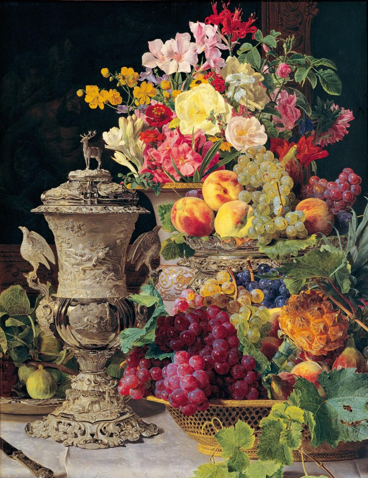 Фердинанд Георг Вальдмюллер. Натюрморт с фруктами, цветами и серебряной чашей