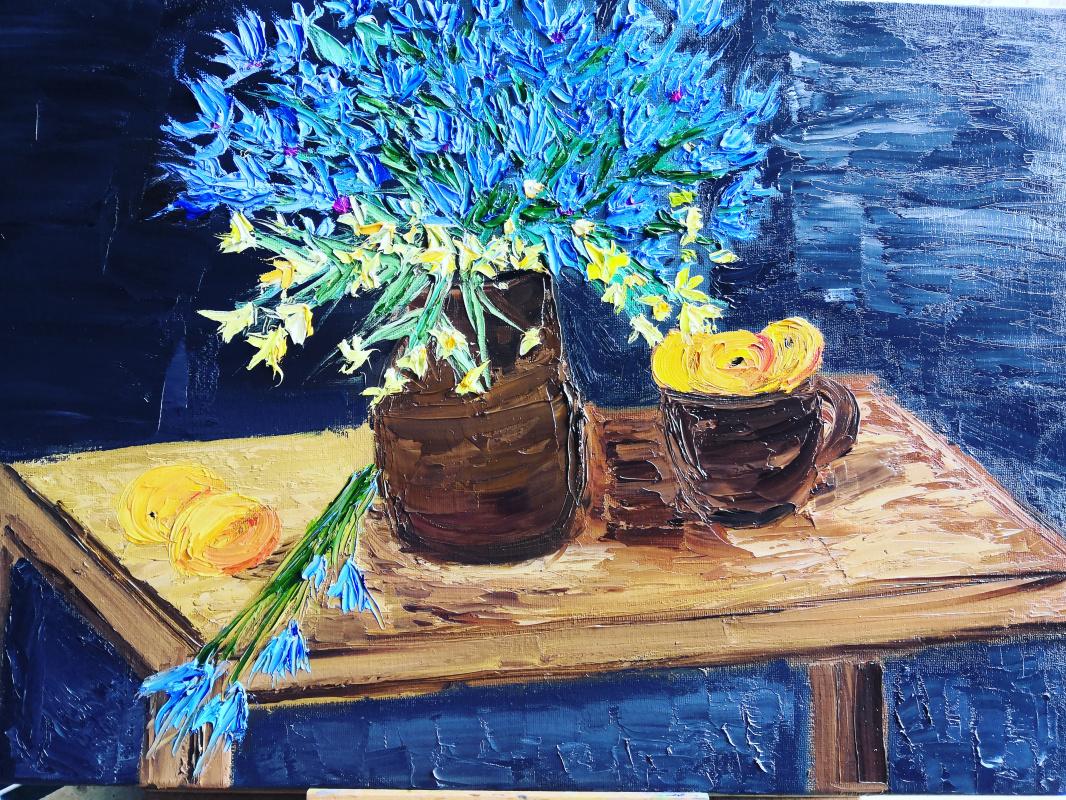 Svetlana Zhilinskaya. Still Life Cornflowers with Apricots