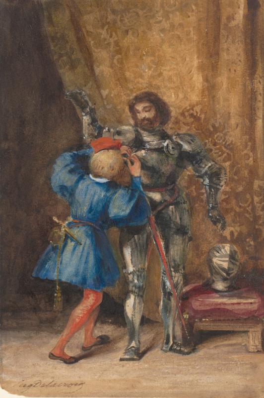 Паж Жорж одевает Берлихингена в доспехи