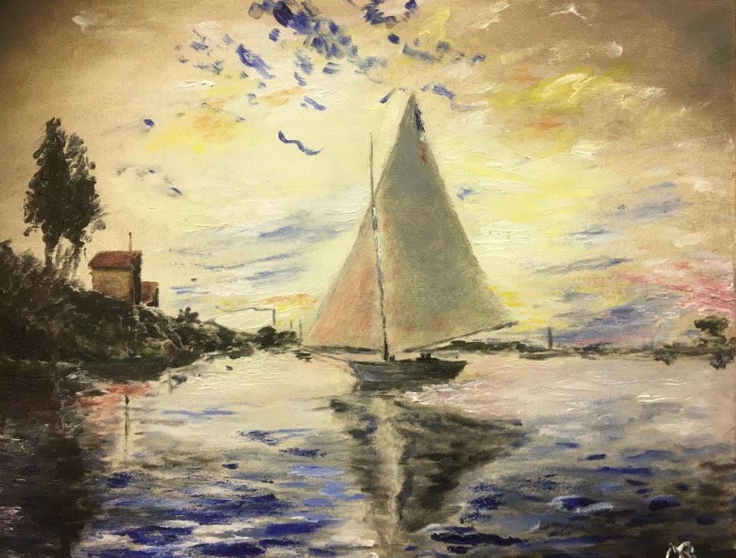 """Mihails (Mikhail) Valentinovich Ribenko (Rybenko). Copy from Claude Monet's painting """"Sailboat at Le Petit Genevillier"""". 1874"""
