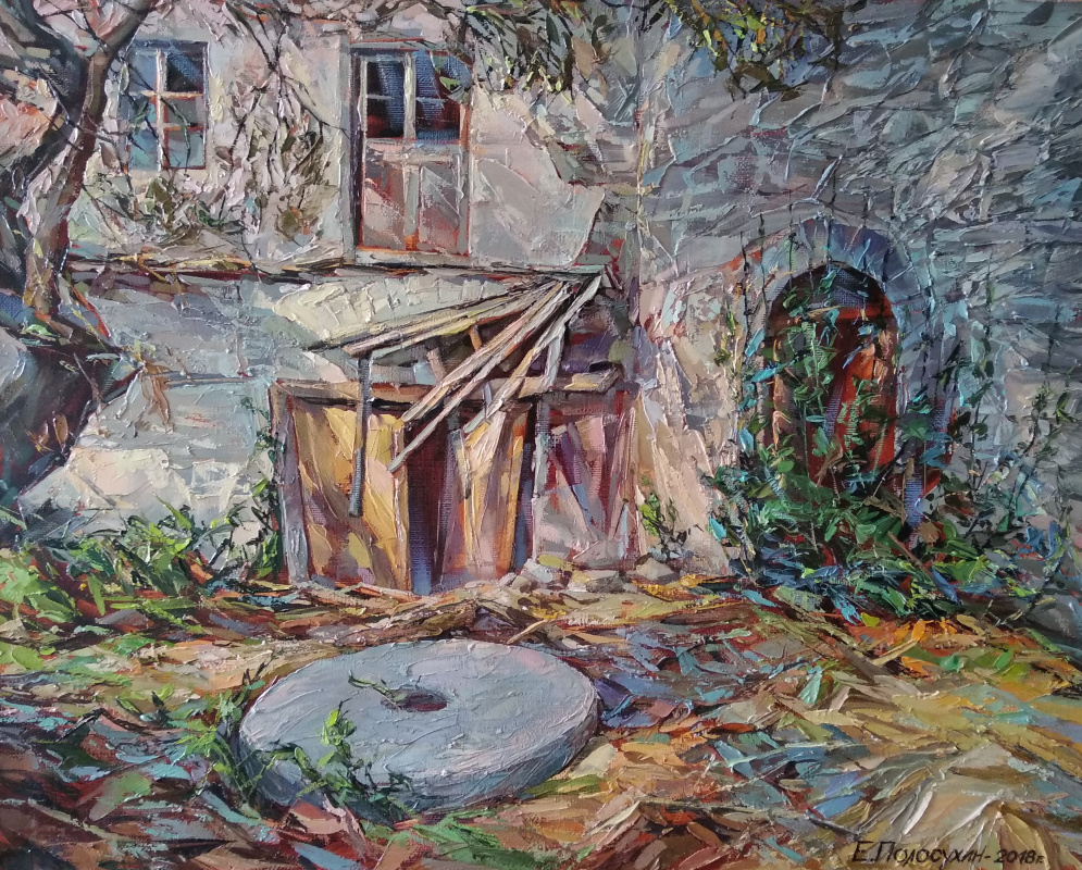 Evgeny Fedorovich Polosukhin. Athos. The ruins of the mill of Silouan the Athonite.