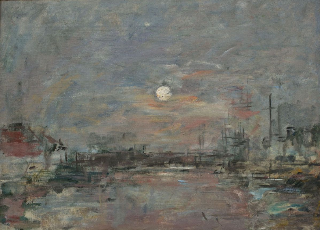Eugene Boudin. The moon rises over the pond