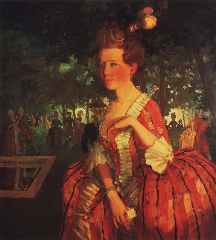 Константин Андреевич Сомов. Молодая девушка в красном платье (Девушка с письмом)