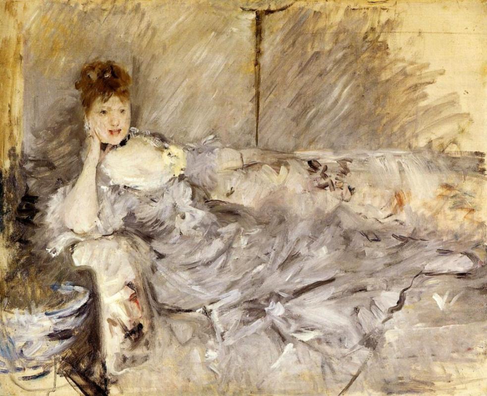 Берта Моризо. Лежащая молодая женщина в сером