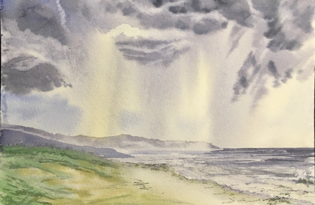 Tatiana Lagunova. Dawn rain over the sea