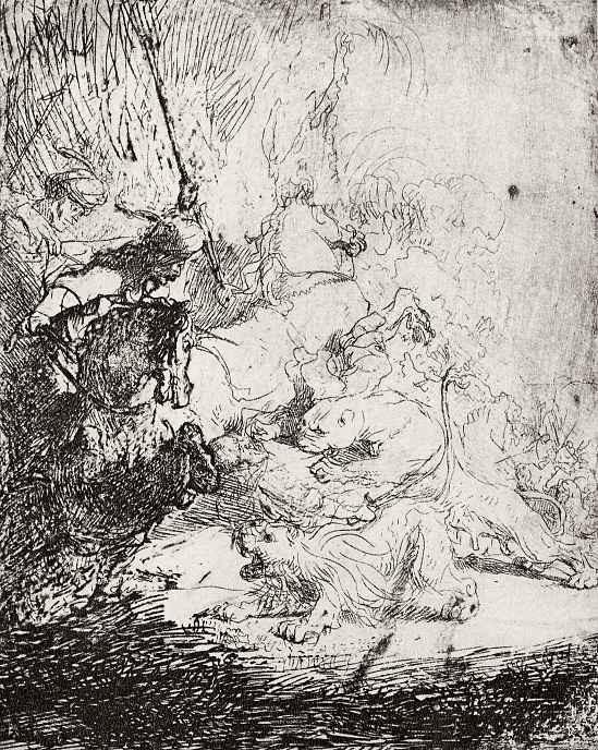 """Рембрандт Ван Рейн. Так называемая """"Малая охота на львов"""""""