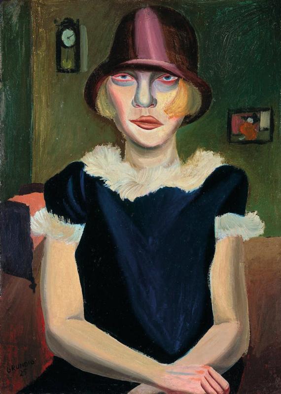 Ханс Грундиг. Девушка с розовой шляпой