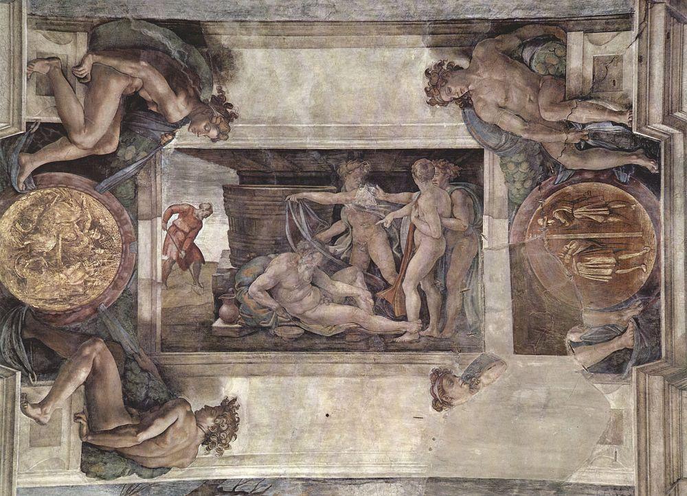 Микеланджело Буонарроти. Опьянение Ноя