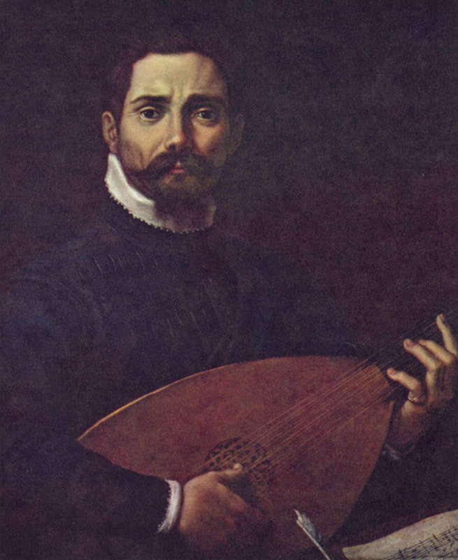 Annibale Carracci. Portrait of Giovanni Gabriele with a lute