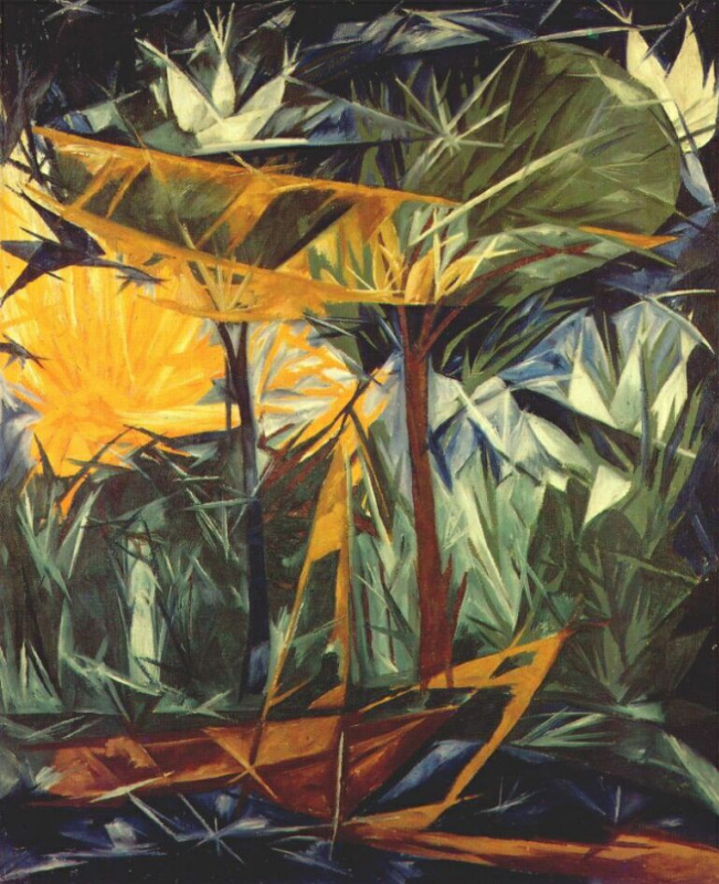 Natalia Goncharova. Yellow and green forest
