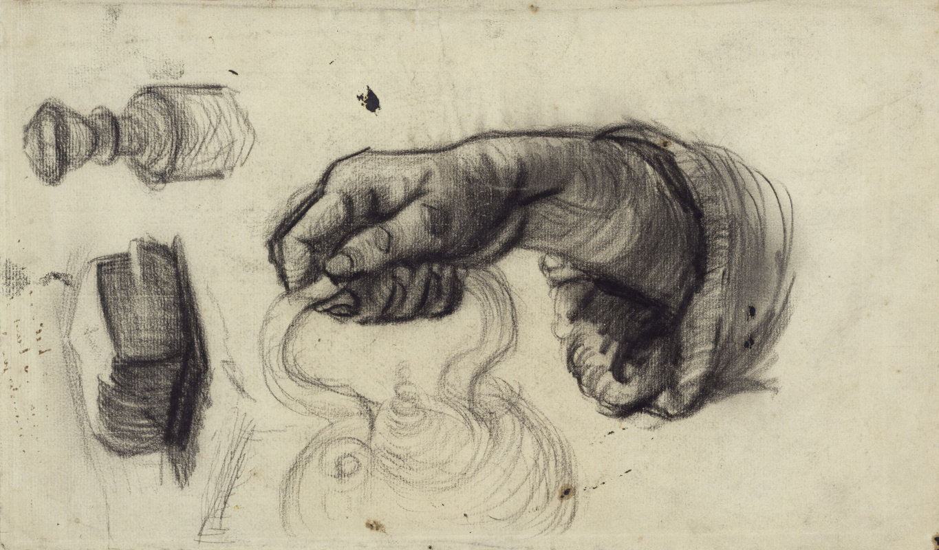 Vincent van Gogh. Hand with a pot, the arm of the chair and a loaf of bread