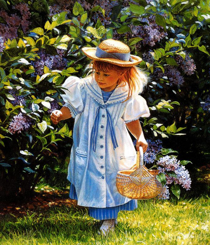 Донна Грин. Девочка играет в саду