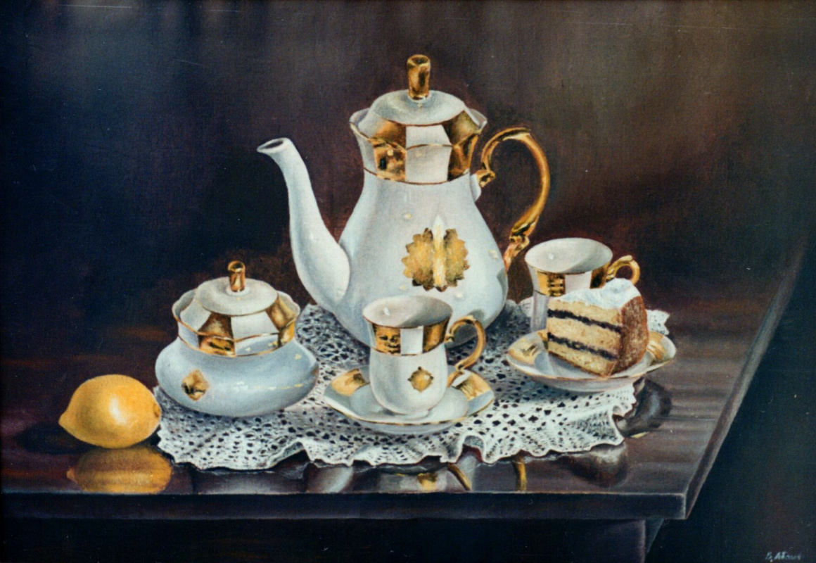 Vladimir Vasilyevich Abaimov. Still-life with a Tableware set