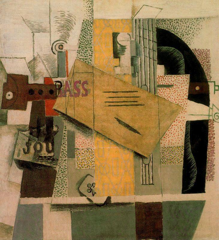 Пабло Пикассо. Бутылка Басса, кларнет, гитара, скрипка, газета, трефовый туз