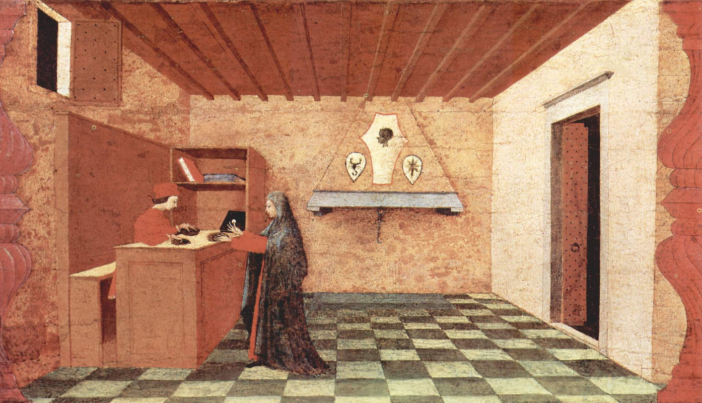 Paolo Uccello. The legend of the communion. The woman exchanges the Jewish merchant of the Eucharist on the dress