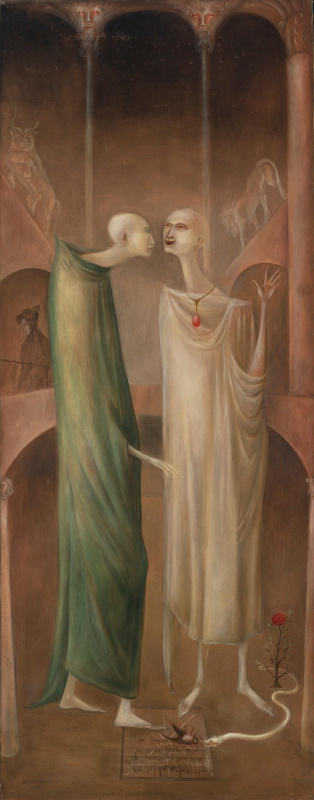Leonora Carrington. The magician Zoroaster meets his image in the garden (Brothers in Babylon)