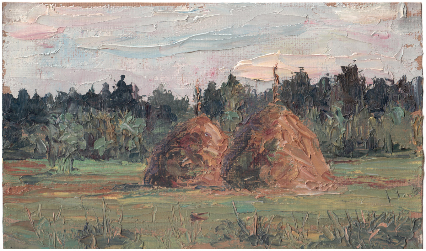 Arkady Pavlovich Laptev. Haystacks in a field