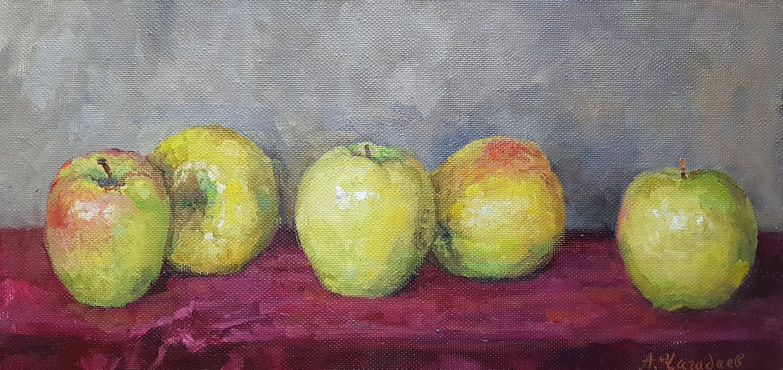 Aleksandr Chagadaev. Apples on a Velvet Tablecloth