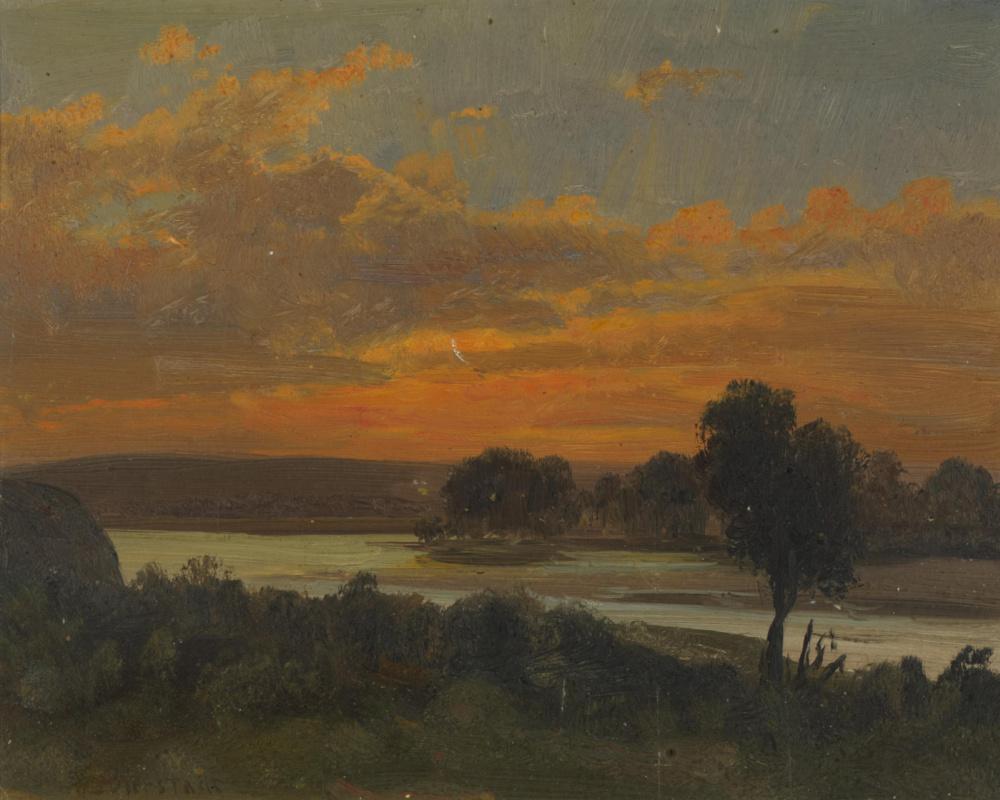 Альберт Бирштадт. Закат на реке Платт, Небраска