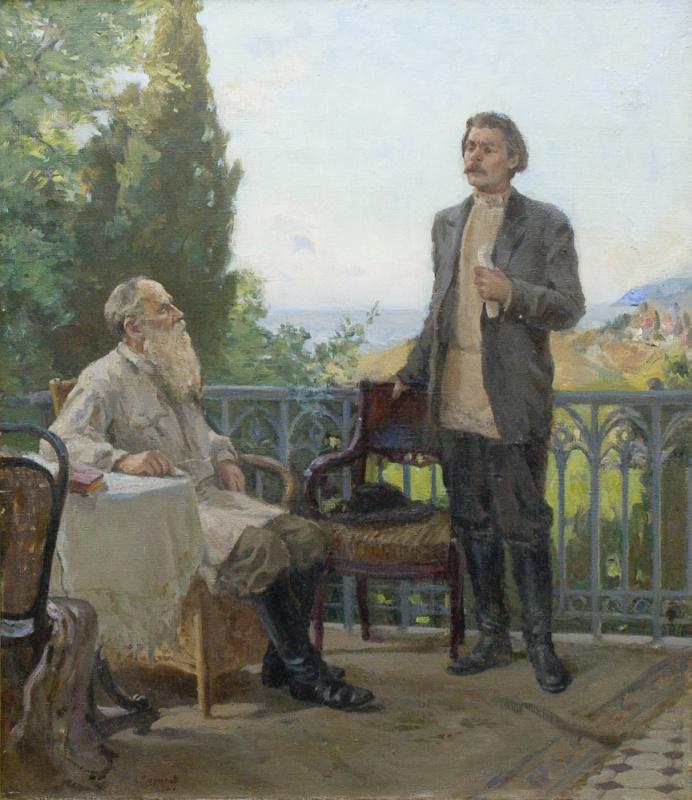 Алексей Игнатьевич Кириллов. Толстой и Горький в Гаспри. 1902  1953