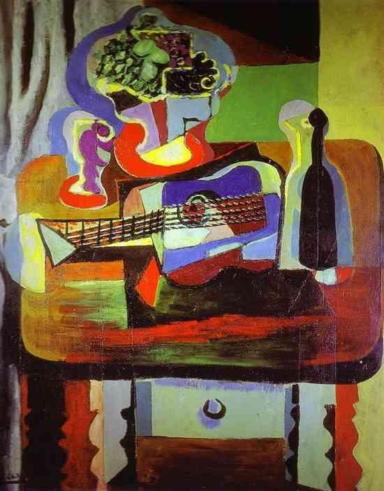 Пабло Пикассо. Гитара, бутылка, чаша с фруктами и бокал на столе