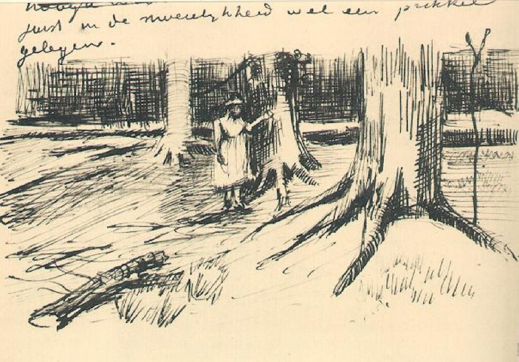 Vincent van Gogh. Girl in the woods. The figure in the letter