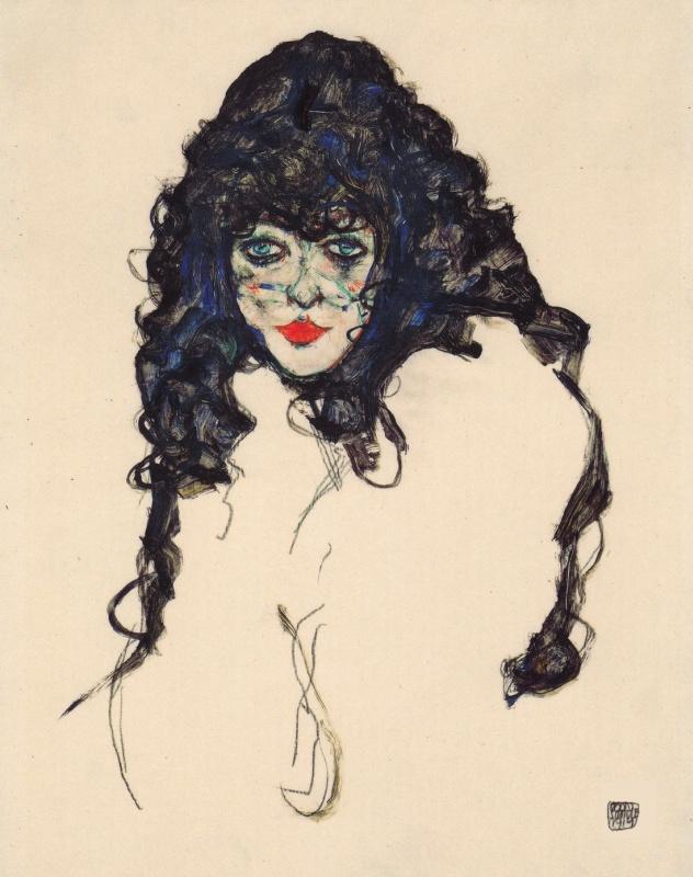 Эгон Шиле. Портрет девушки с длинными волосами