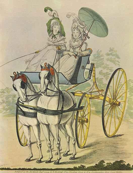 Николай Иннокентий Вильгельм Клеменс фон Хайделоф. Прогулка в экипаже, запряженном парой лошадей