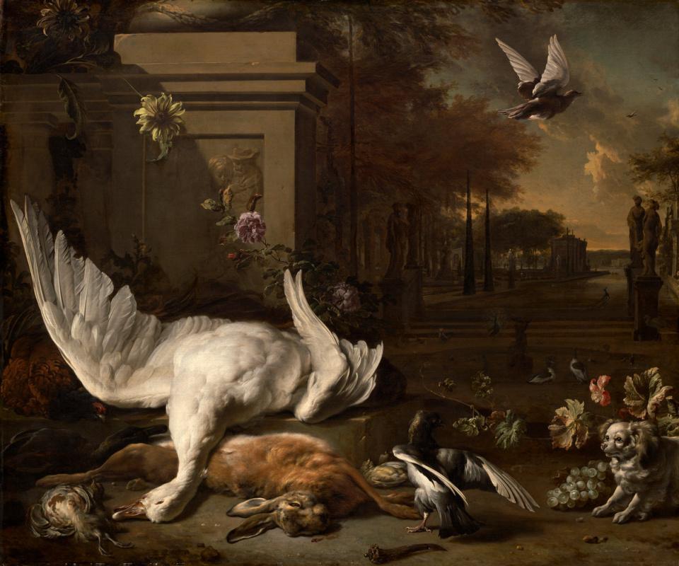 Ян Баптист Веникс. Натюрморт с мёртвым лебедем и битой дичью на фоне поместья