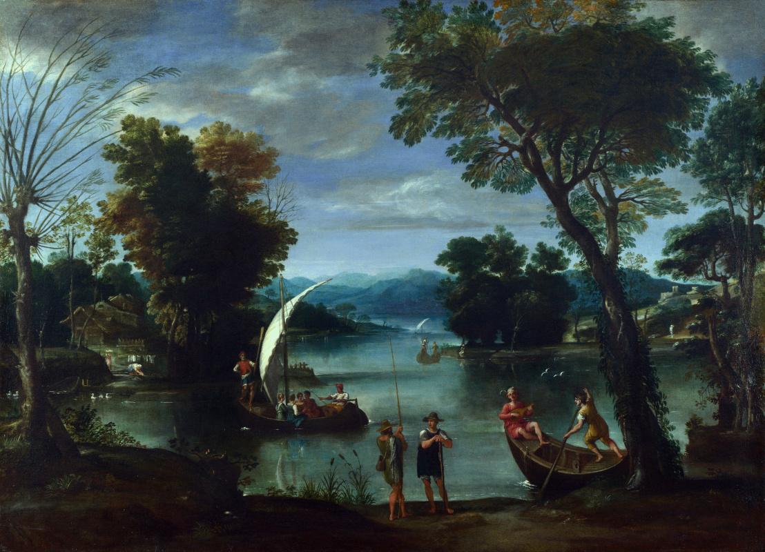 Баттиста Виола Джованни. Пейзаж с рекой и лодками