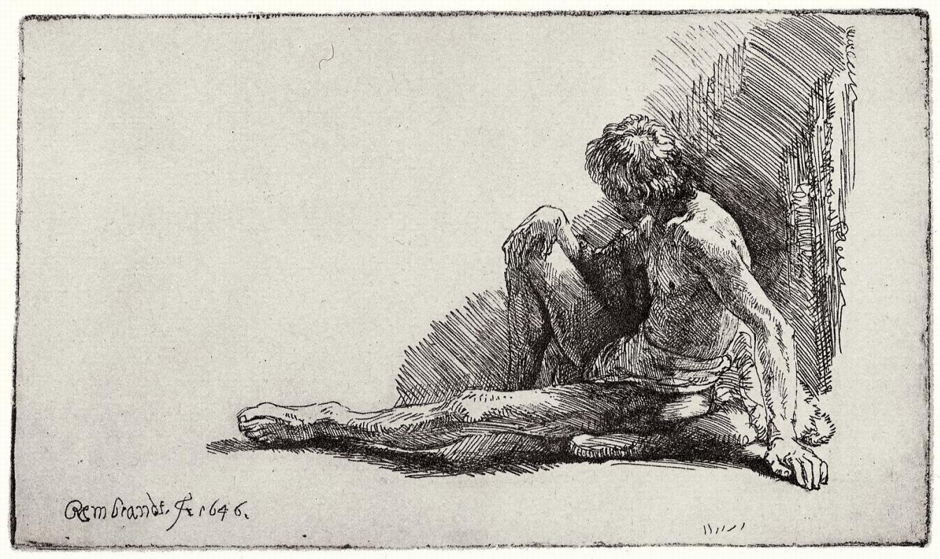 Рембрандт Ван Рейн. Сидящий обнаженный юноша