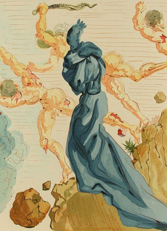 Salvador Dali. Dam along a sand stream. Illustrations for the Divine Comedy