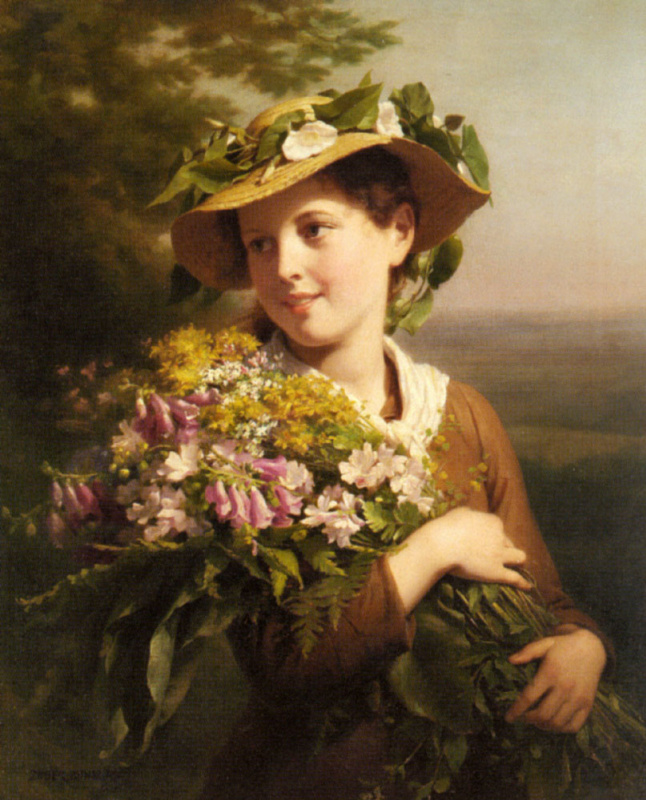 Fritz Zuber-Buhler. Young girl with bouquet