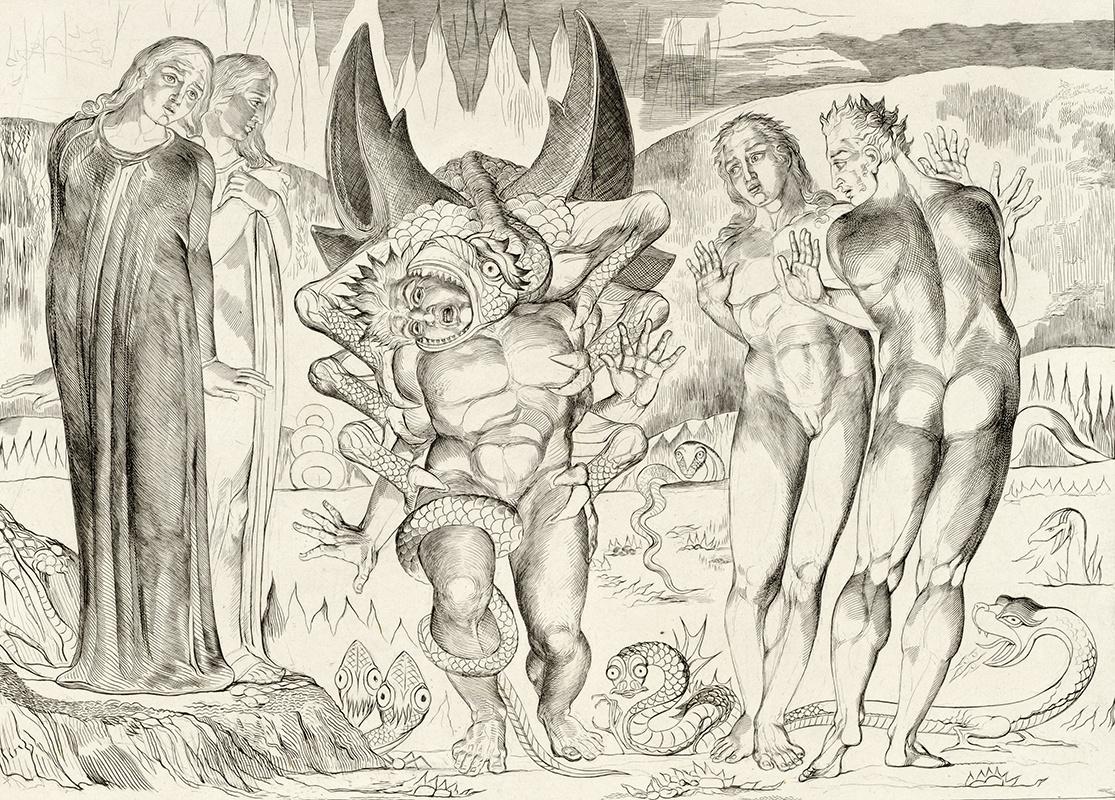 Уильям Блейк. Шестифутовый змей нападает на Аньоло Брунеллески. Иллюстрация к «Божественной комедии» Данте
