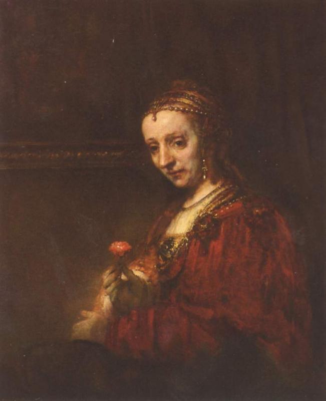 Рембрандт Ван Рейн. Портрет женщины с алой гвоздикой