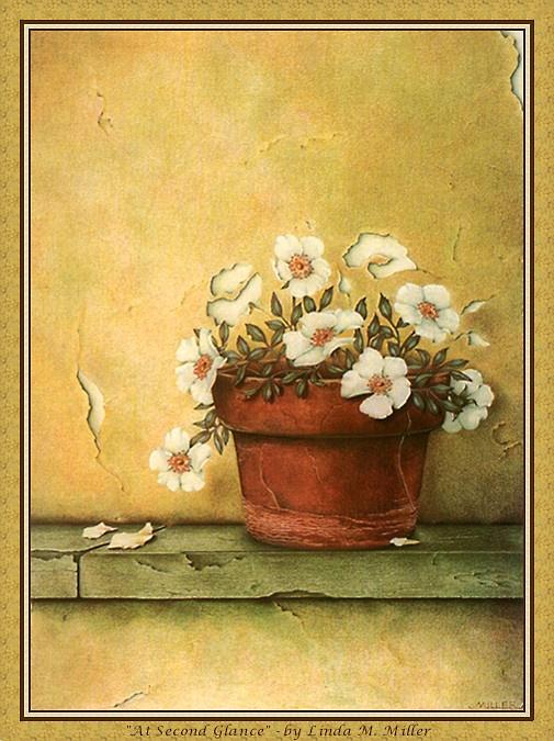Линда Миллер. Белые цветы в горшке