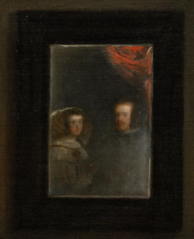 Diego Velazquez. Las Meninas. Fragment. Portrait of Philip IV and Marianna of Austria in the mirror