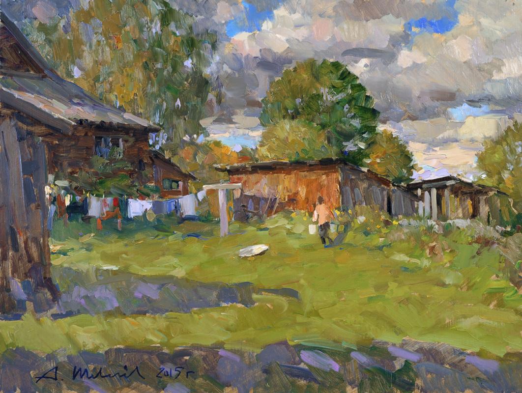 Alexander Victorovich Shevelyov. Autumn courtyard. Fiberboard, oil 39.5 X 52 cm.