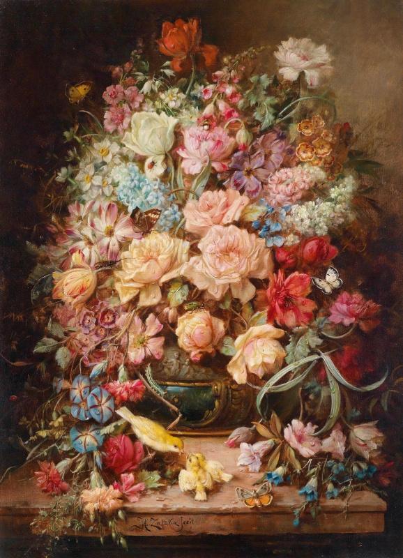 Ханс Зацка. Большой цветочный натюрморт с бабочками и птицами