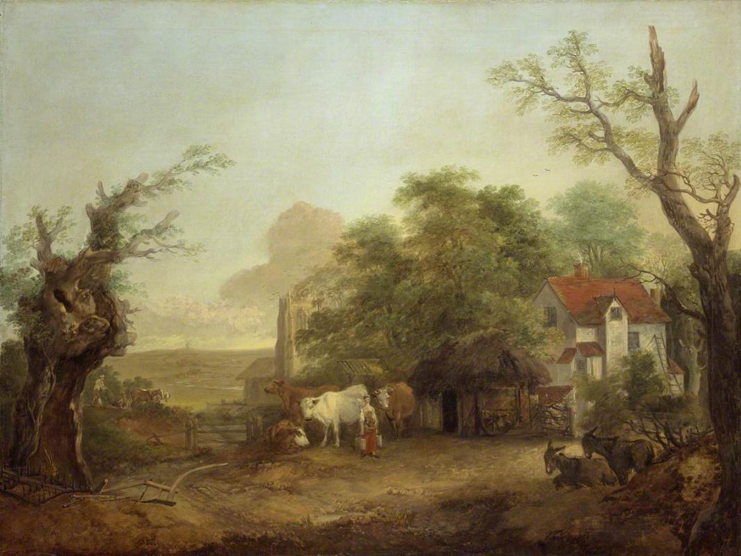 Томас Гейнсборо. Ферма с молочницей и ослами