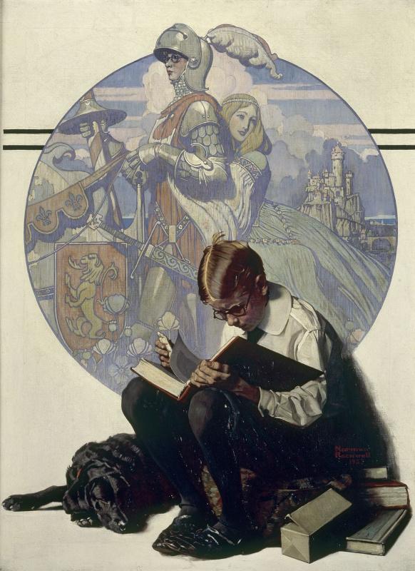 Норман Роквелл. Мальчик, читающий истории о приключениях