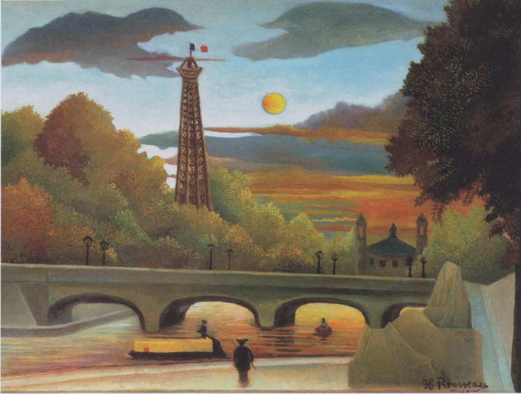 Henri Rousseau. Seine und Eiffelturm in der Abendsonne