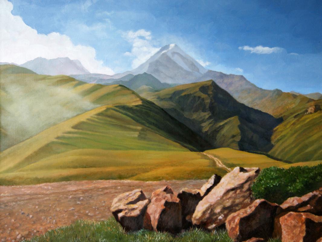 Alan Albegov. Kazbek. View from the Gergeti Monastery