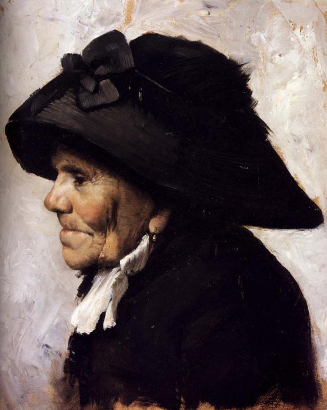 Пожилая женщина в черной шляпе