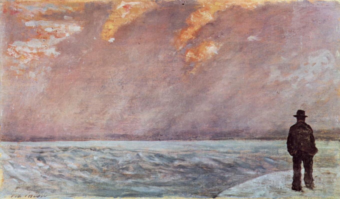 Джованни Фаттори. Заход солнца на море