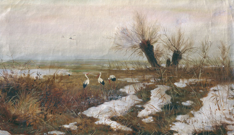 Sergey Ivanovich Svetoslavsky. Landscape with storks. The beginning of the twentieth century
