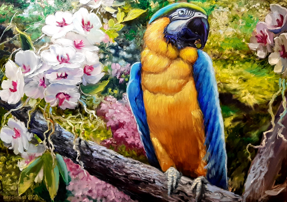 Evgeny Vladimirovich Terentyev. Parrot and orchid