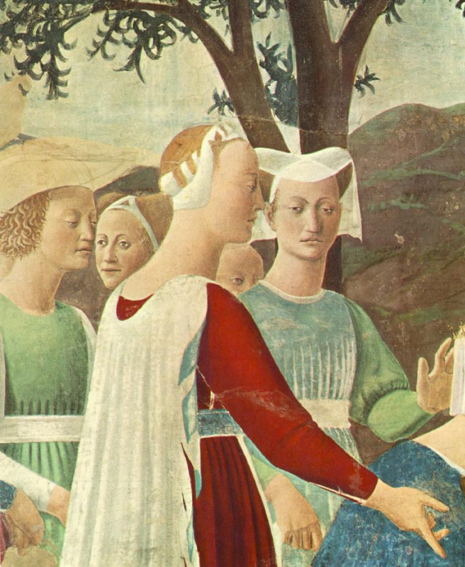 Piero della Francesca. A visit to king Solomon by the Queen of Sheba, fragment: Ladies of the retinue of the Queen of Sheba