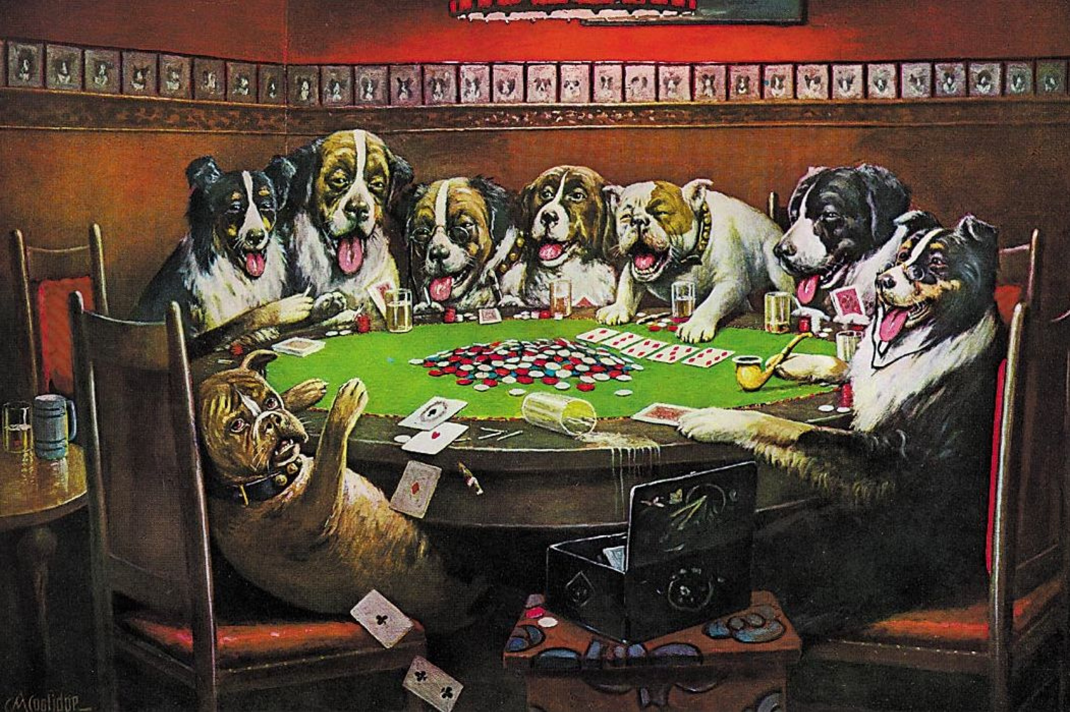 Cassius M. Coolidge. Poker community (dogs playing poker)